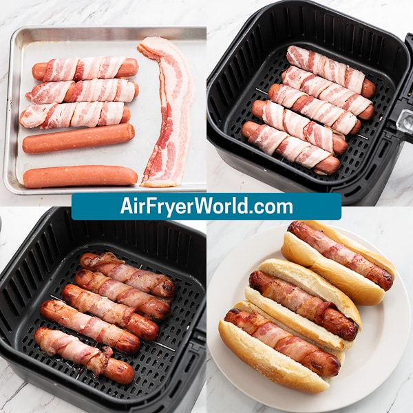 Air Fryer Bacon Wrapped Hot Dogs   AirFryerWorld