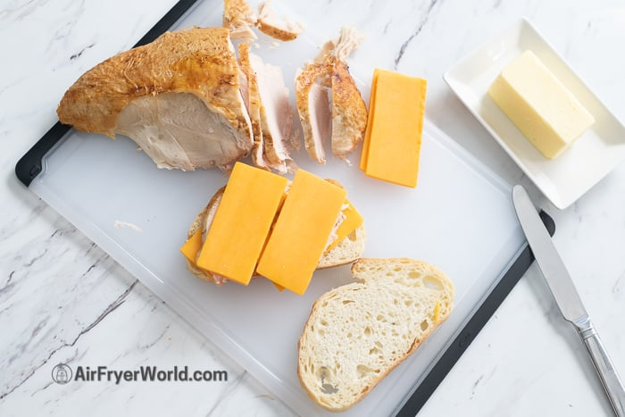 Air Fryer Turkey Melt Grilled Cheese Sandwich
